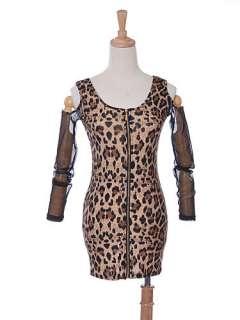 Exposed Front Zipper Cheetah Leopard Print Tank Dress Bare Shoulder