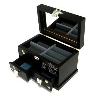 Pearl Inlay Orchid Flower Design Asian Black Wood Jewelry Treasure Box