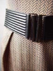 FEMME FATALE 40s High Waist Belt Belted Vtg y Printed Fitted Sheath