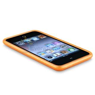 Orange Skin Case+Car+AC Charger+Film for iPod Touch 4 G