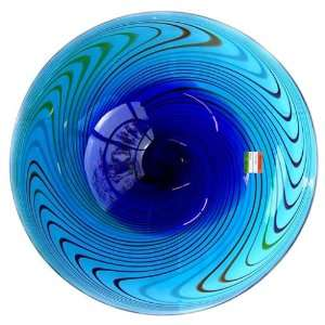 Murano Art Glass Vase Huge Plate Blue Swirl A55
