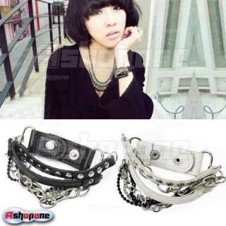 Punk Cool Multi tier Leather Stud Chain Bangle Wristband Bracelet