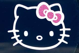 HELLO KITTY PINK GLITTER SPARKLE BOW Decals Stickers