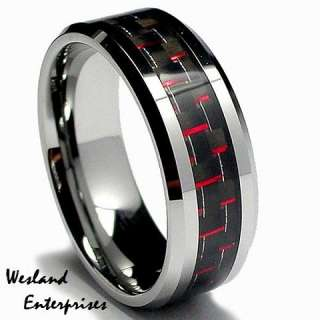 8mm Red and Black Carbon Fiber Inlay Tungsten Carbide Ring Band