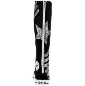 Black ALL STAR Silver Glitter XXHI Knee High Tennis Shoes NEW