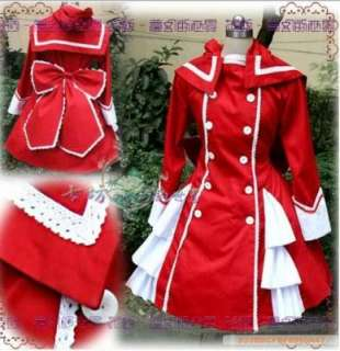 Gothic Lolita Coat Cosplay Dress Costume Pink Black Red