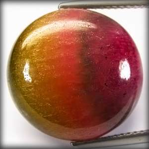 15.0 ct. NATURAL OVAL CABOCHON WATERMELON CATS EYE GREEN PINK PURPLE