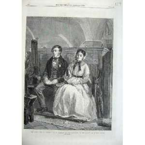1869 Man Woman Sitting Church Pews Hemsley Fine Art