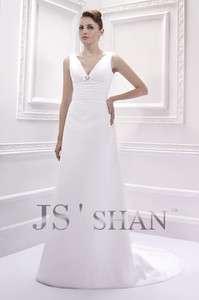White Chiffon V Neck Beaded Sleeveless Bridal Gown Wedding Dress