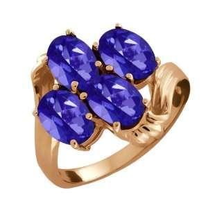 80 Ct Oval Tanzanite Blue Mystic Topaz 18k Rose Gold Ring Jewelry