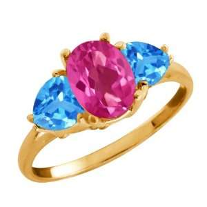 66 Ct Oval Pink Mystic Topaz and Swiss Blue Topaz 18k Yellow Gold Ring