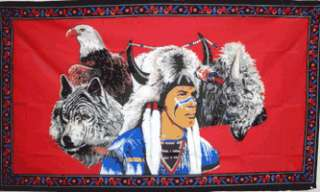 USA Native American Indian Wolf and Eagle 3x5 Flag NEW