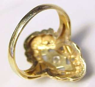 Antique Diamond Accented, Two Tone 14KT Solid Gold Ring ~ Size 5.75