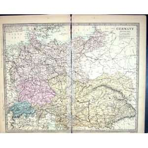 Harrow Antique Map 1880 Germany Switzerland Austria