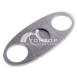 Stainless Steel Cigar Cutter Knife Double Blade Blades   Silver H803S
