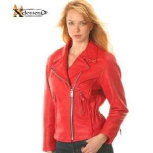 Ladies Red Classic Braided Motorcycle Leather Jacket Sz M