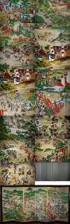 FINE Japanese Samurai WAR Armor Folding Screen Painting