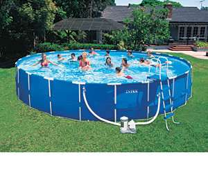 Intex 15x48 Round Metal Frame Above Ground Swimming Pool Package