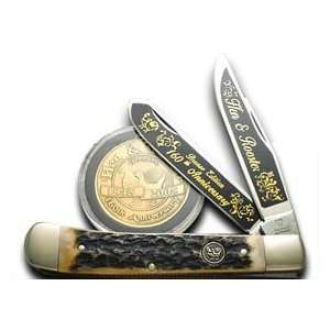 HEN & ROOSTER AND 1/160 Genuine Stag Trapper Pocket Knife