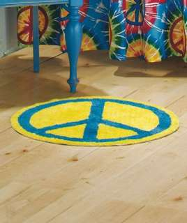 Round Retro Hippy PEACE Sign Bath Mat Rug Blue and Yellow NEW