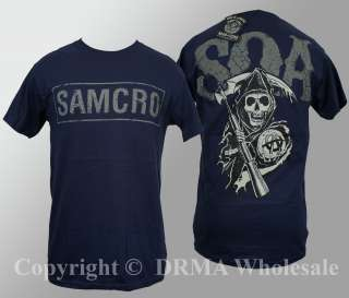 Authentic SONS OF ANARCHY Samcro Cracked Reaper T Shirt S M L XL XXL