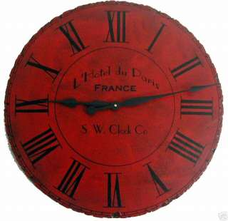 Large Wall Clock 24 Antique Red Paris Big Tuscan Roman
