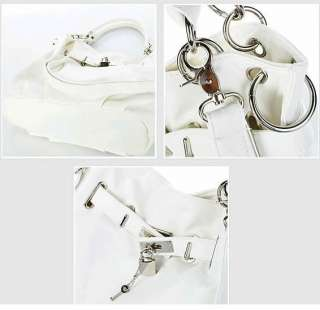 Korea Fashion Womens Lady Girl Soft PU Leather Tote Handbag Lock