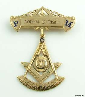 1955 St Johns Masonic Past Master Medal Jewel Masons   10k Solid Gold