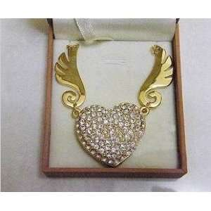 8GB Silver Crystal USB Heart shape with Wings and Necklace