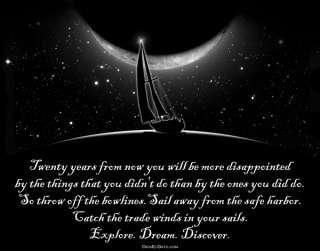 Mark Twain Sail Away Quote T Shirt for Inspired Sailors