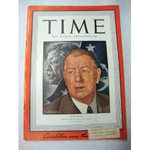Time Magazine, September 7, 1942 Frank Knox Time Inc. Books