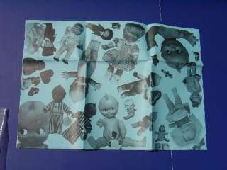 Vintage Pictures on Blue Gift Wrapping Paper Old Unique Rare 1sheet