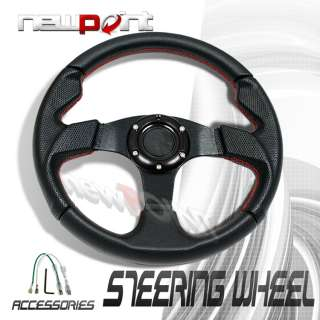 RACING STEERING WHEEL UNIVERSAL BLACK/RED STITCH 320MM
