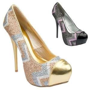 Womens Shoes High Heels Hidden Platform Glitter Stiletto Pumps Black
