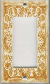 Light Switch Plate Cover   Wall Decor   Tuscan Tile Pattern   Golden