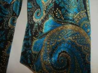Womens Xscape Turquose & Black Velvet Jacket Medium