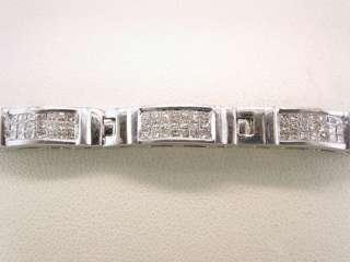 5ct Princess Cut Diamond Solid 18K White Gold LadiesTennis Bracelet