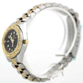 Luxury Crystal Diamond Gold&Black Face Quartz Women Lady Wrist Watch