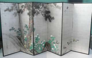 PAIR of Japanese Folding Screen BYOBU Painting LANDSCAP
