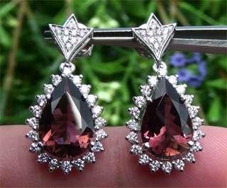 Vintage Estate 6.07 ct Natural Pink Tourmaline Diamond Earrings 14k