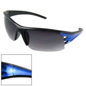 Como Women Black Blue Plastic Cut Out Half Rim Sunglasses