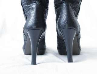 FENDI B Buckle Black Leather Knee High Heel Boot 10 40