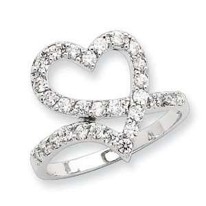 Sterling Silver CZ Open Heart Ring Size 6: Jewelry