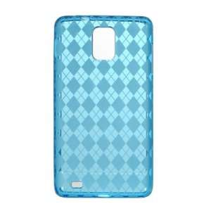 BLUE TPU Gel Soft Argyle Design Skin Cover Case for Samsung Infuse 4G