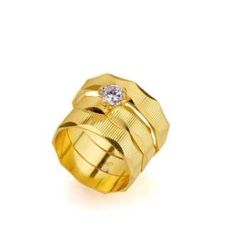 Rings Set 24K Yellow Gold Filled Unisex Ring Bands SZ 8+8+10