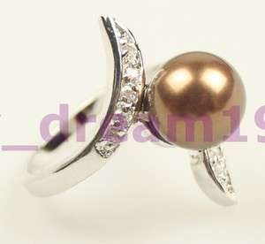 Unique ladys chocolate Shell Pearl Ring #9