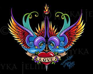 Rainbow Swallow Heart Tattoo Signed Print Eternal Love