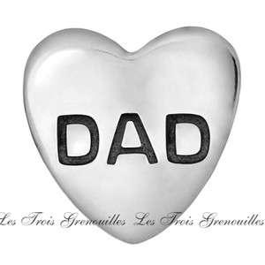 Silver Dad Heart Bead Design Fashion Jewelry TT241 Fits Bead Bracelets