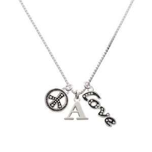 Large Silver Initial   A, Peace, Love Charm Necklace [Jewelry
