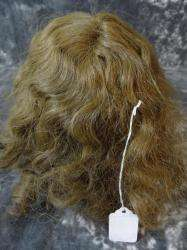 ANTIQUE CURLY BROWN WIG FOR LARGER BISQUE DOLLS